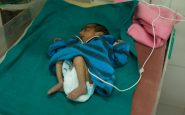 Unnamed baby boy. Mother, Rica, was malnourished and he was born prematurely in a Community Health Centre at 34 weeks and transferred to the District Hospital in Tonk, Rajastan - which has one of the best Special Care Baby units in India.