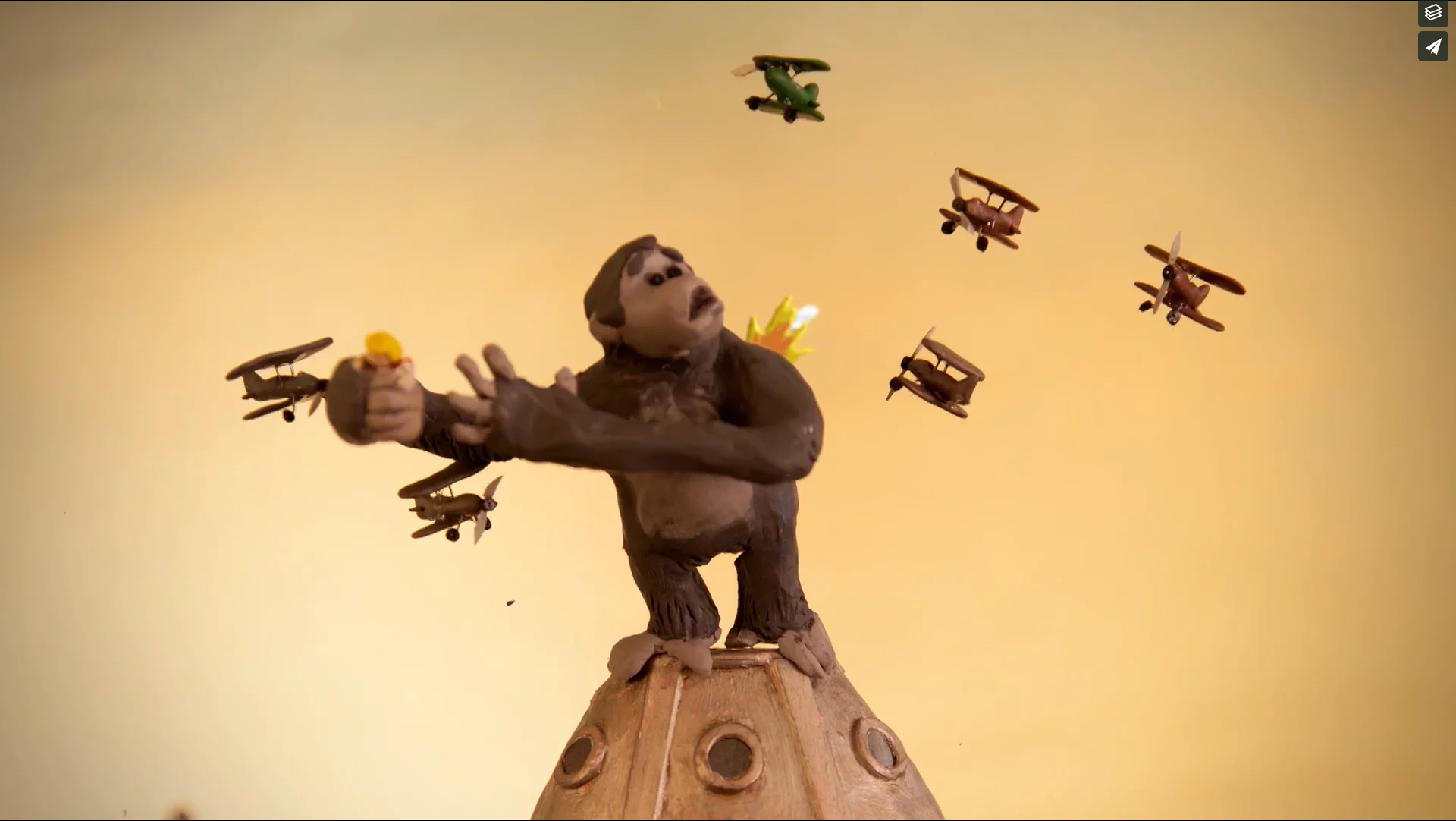 King Kong battles, in Princess Kong a film for Plan International
