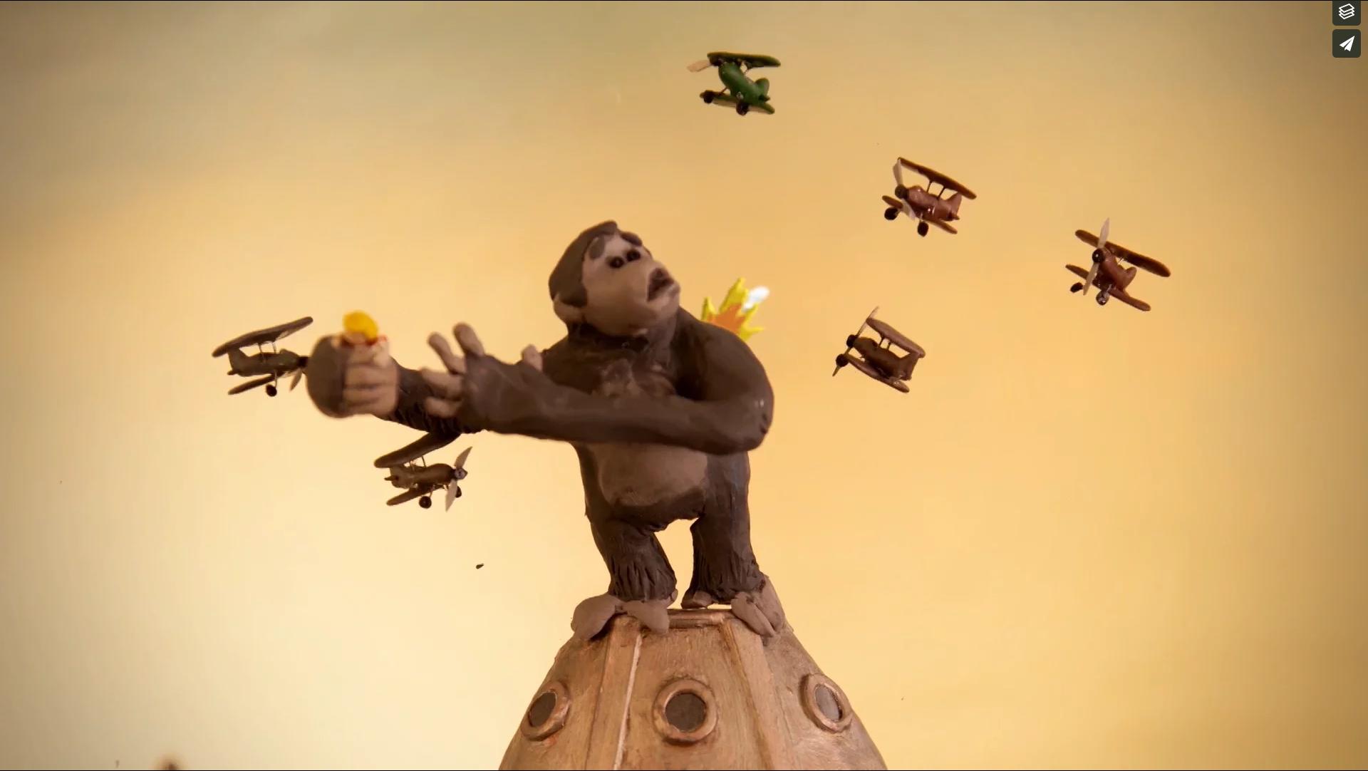 King Kong battles, in Princess Kong a film for Plan International